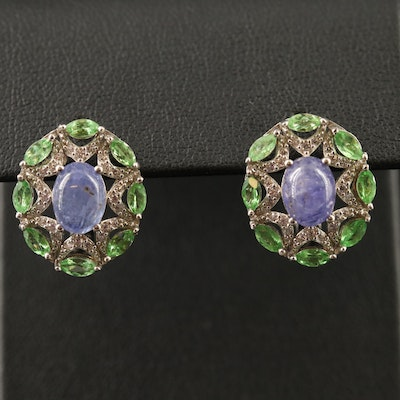 Sterling Tanzanite, Diopside and Cubic Zirconia Earrings