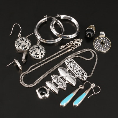 Sterling Jewelry Including Black Onyx, Marcasite and Faux Turquoise
