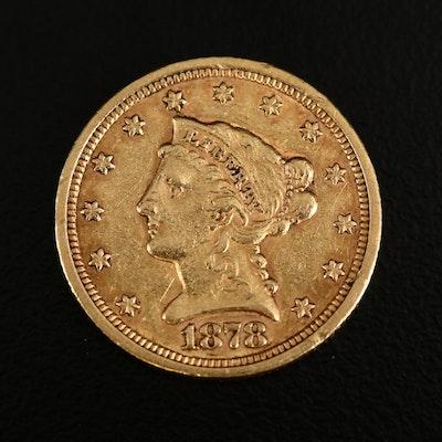 1878-S Liberty Head $2.50 Gold Quarter Eagle Coin