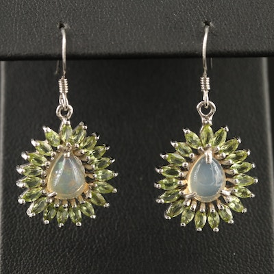 Sterling Silver Opal and Peridot Dangle Earrings