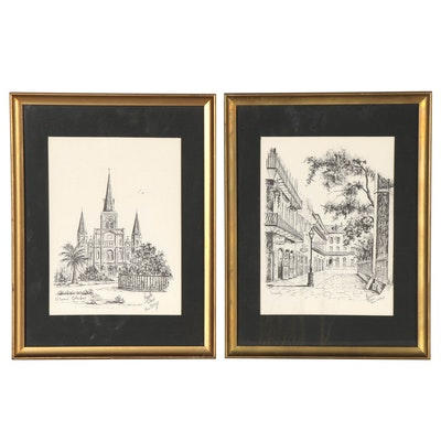 Halftone Reproduction Prints after Marcella Packard of New Orleans Scenes