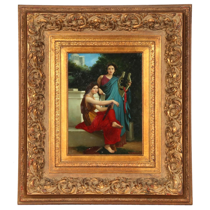 "Copy Oil Painting after William-Adolphe Bouguereau ""Art and Literature"""