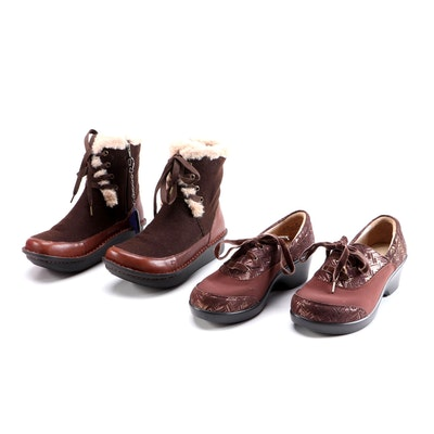 Alegria by PG Lite Brown Suede Clogs and Brown Wool and Leather Winter Boots