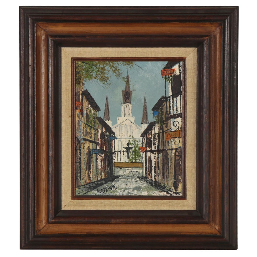 French Street Scene Oil Painting, Mid 20th Century