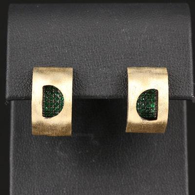 Sterling Silver Cubic Zirconia J Hoop Earrings