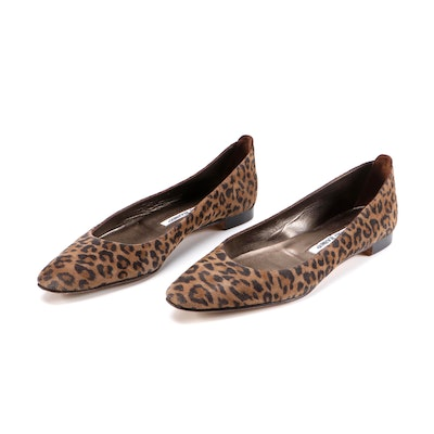 Manolo Blahnik Lee Leopard Print Suede Tapered-Toe Flats