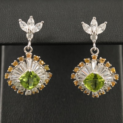 Sterling Silver Peridot, Cubic Zirconia, and Sapphire Dangle Earrings
