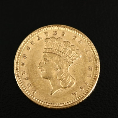 1861 Civil War Era Indian Princess Head Type III Gold Dollar