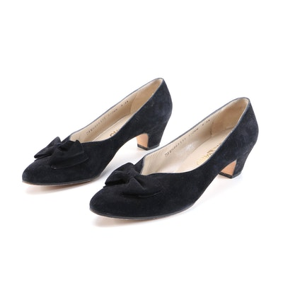 Salvatore Ferragamo Black Suede Bow Pumps