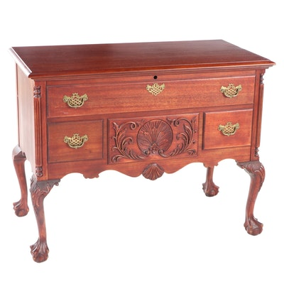 Chippendale Style Cherry Finish Cedar Blanket Chest, Late 20th Century