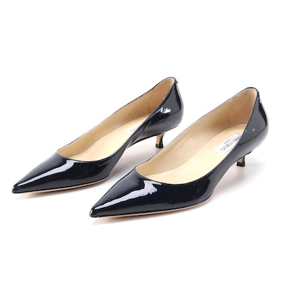 Jimmy Choo Navy Patent Leather Pointed Toe Kitten Heel Pumps
