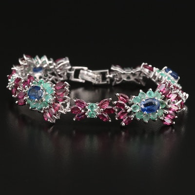 Sterling Silver Kyanite, Emerald and Rhodolite Garnet Link Bracelet