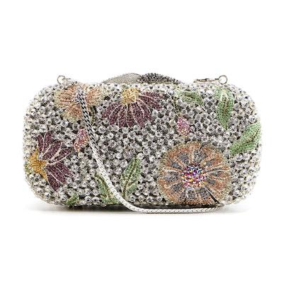 Floral Motif Rhinestone Embellished Clutch Purse