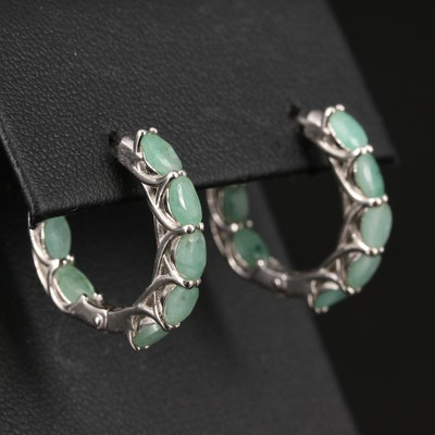 Sterling Emerald Inside-Out Hoop Earrings