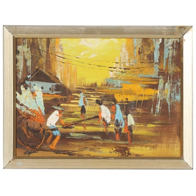 Stephen Lee Oil Painting of Southeast Asian Street Scene, Late 20th Century