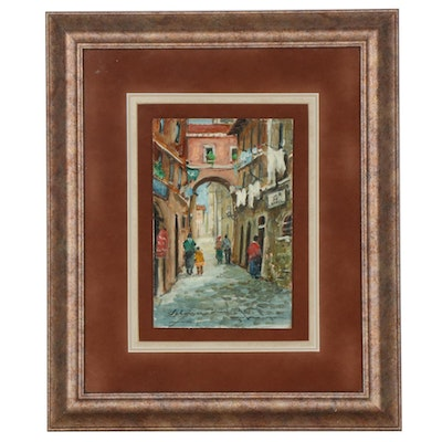 Italian City Street Scene Oil Painting, circa 1997