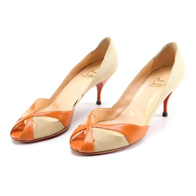 Christian Louboutin Linen and Persimmon Cutout Leather Peep-Toe Heels