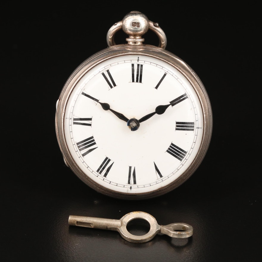 1871 William Brown Verge Fusee Sterling Silver Open Face Pocket Watch
