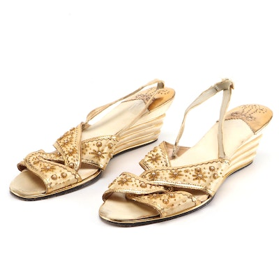 Beaded Metallic Leather and Satin Slingback Wedge Sandals, Mid-20th Century