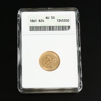 ANACS Graded AU50 1861 Liberty Head $2.50 Gold Quarter Eagle Coin