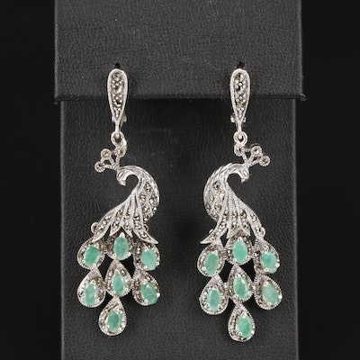 Sterling Emerald and Marcasite Peacock Drop Earrings