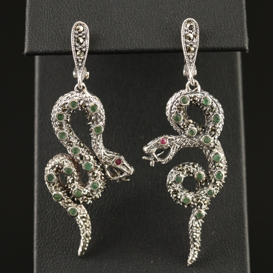 Sterling Silver Emerald, Ruby and Marcasite Coiled Snake Earrings