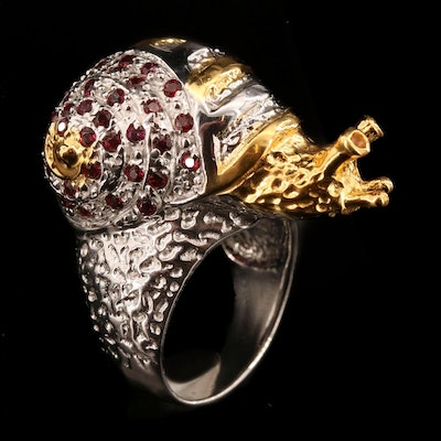 Sterling Silver Garnet Snail Ring