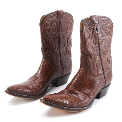 Stallion Embroidered Brown Leather and Lizard Skin Cowboy Boots