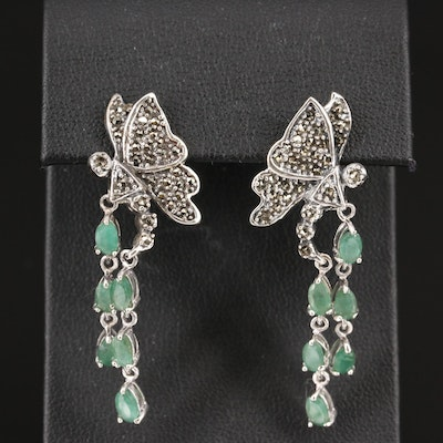 Sterling Emerald and Marcasite Butterfly Drop Earrings