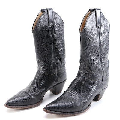 Justin Embroidered Black Leather and Lizard Skin Cowboy Boots