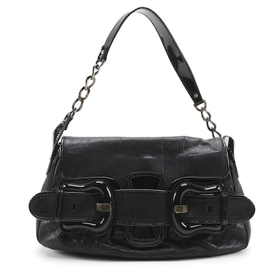 Fendi B Bis Handbag in Black Leather and Patent Leather