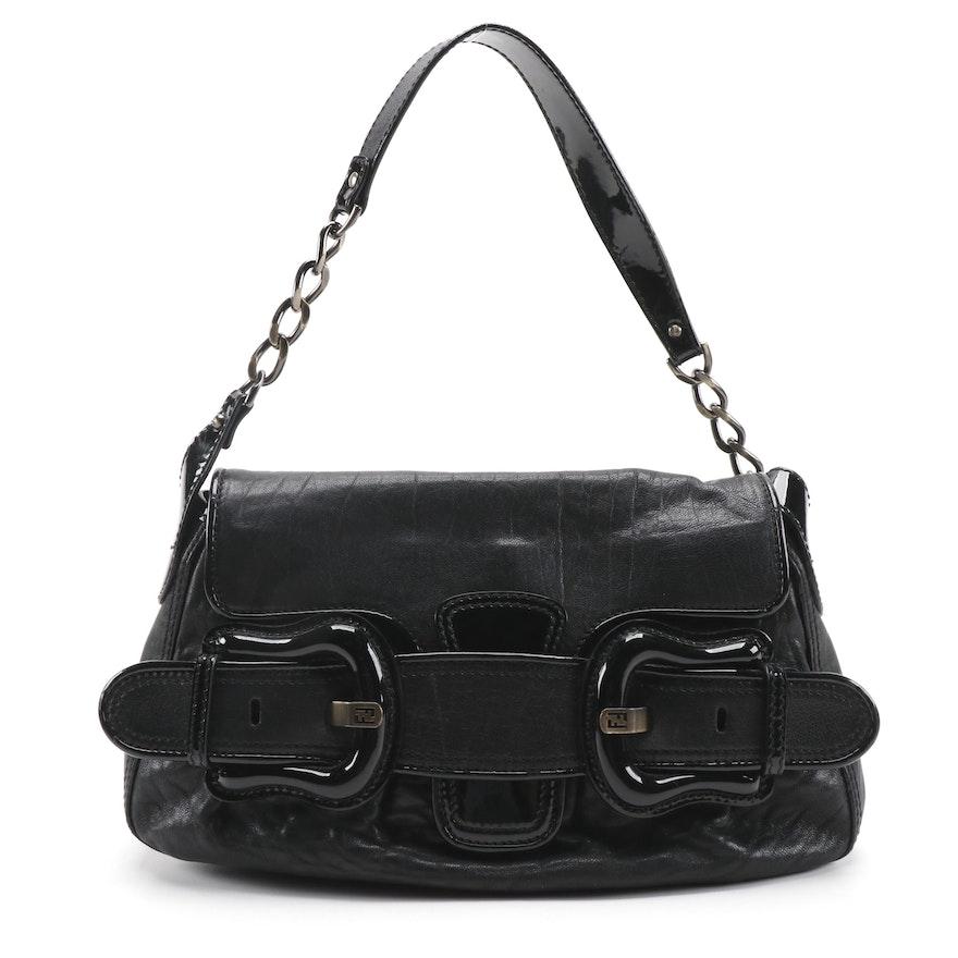 Fendi B Bis Handbag in Black Leather and Patent Leather