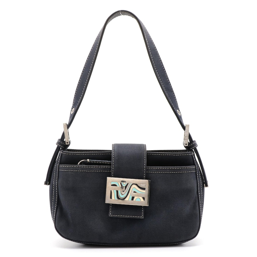 Fendi Navy Blue Canvas Baguette Handbag with Contrast Stitching