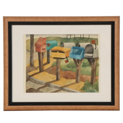 "Lydia Morrow Reeder Watercolor Painting ""Mailboxes,"" Early to Mid 20th Century"