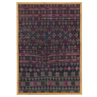 Vietnamese Dao Style Handmade Embroidered Textile Panel, Late 20th Century