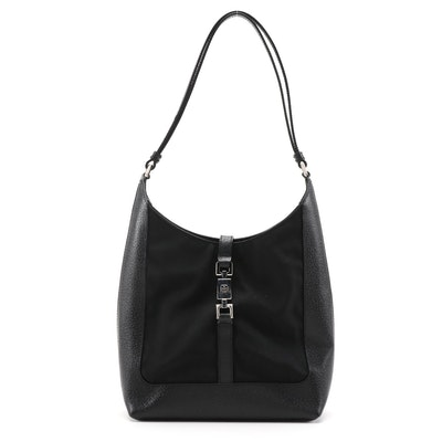 Gucci Jackie Shoulder Bag in Black Nylon and Leather