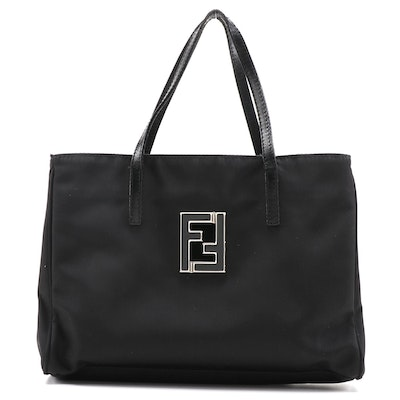 Fendi Black Nylon Tote Bag with Leather Trim
