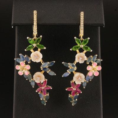 Sterling Silver Multi-Gemstone Floral Motif Drop Earrings