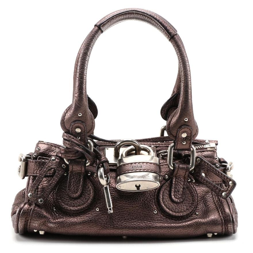 Chloé Paddington Handbag in Metallic Bronze Pebbled Leather