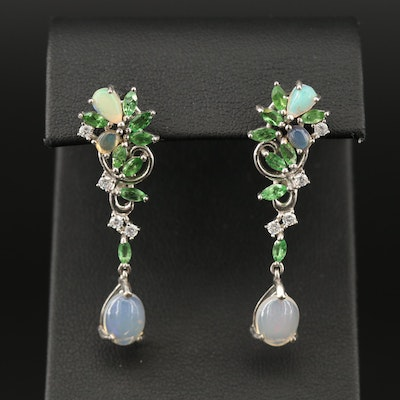 Sterling Silver Opal, Diopside and Cubic Zirconia Cluster Earrings