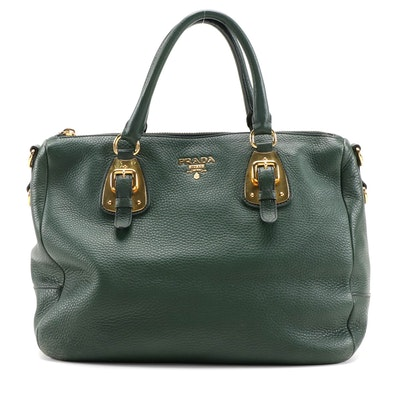 Prada Two-Way Satchel in Forest Green Vitello Daino Leather