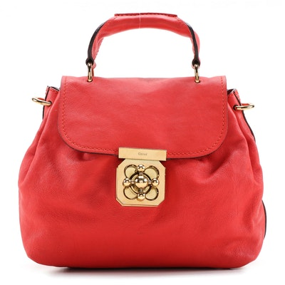 Chloé Elsie Two-Way Satchel in Red Grained Leather
