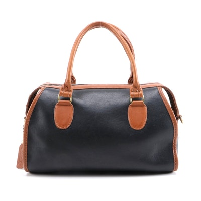 Coach Black and Tan Bicolor Leather Two-Way Satchel
