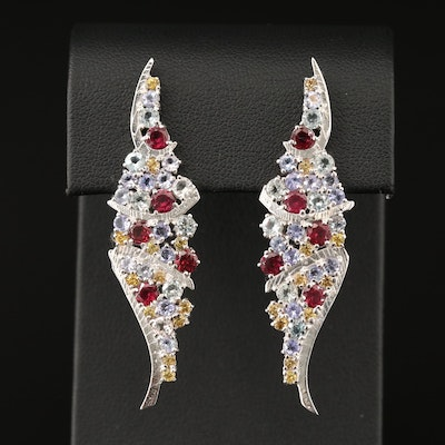 Sterling Silver Tanzanite, Sapphire and Garnet Cluster Wing Earrings