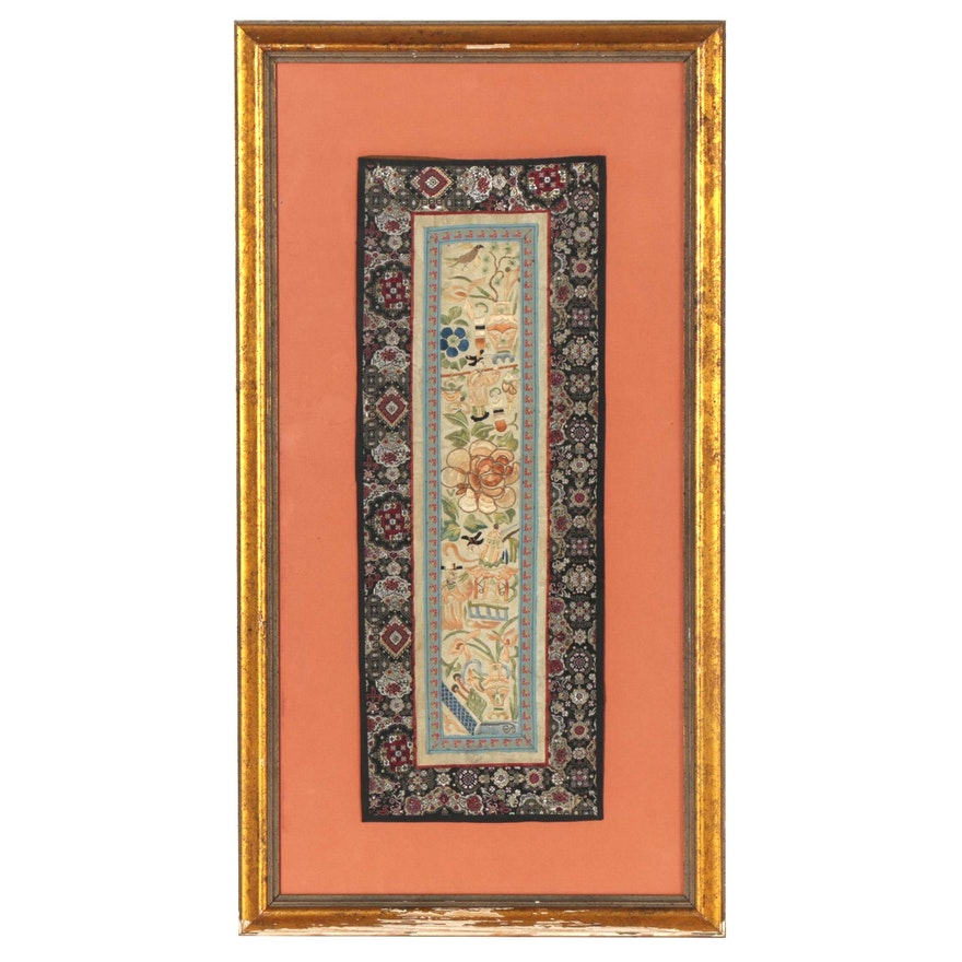 Chinese Hand-Embroidered Silk Sleeve Band, Early to Mid-20th Century