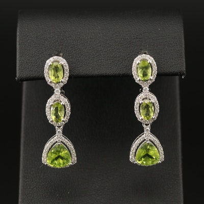 Sterling Peridot and Cubic Zirconia Dangle Earrings