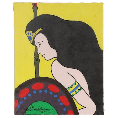 Warrior Woman Acrylic Painting, Late 20th Century