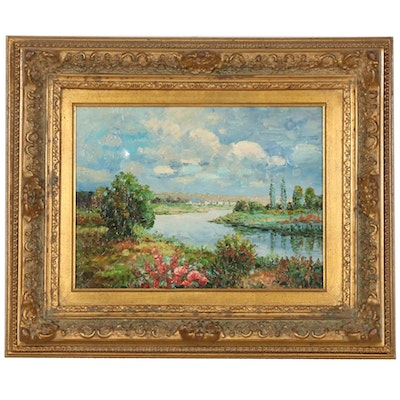 Impressionist Style Oil Painting of European Riverscape