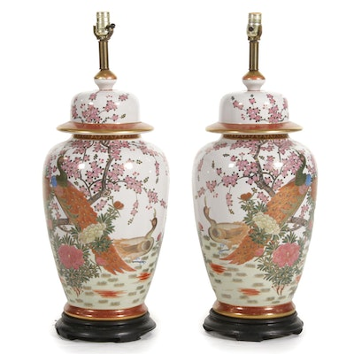 Pair of Chinese Ginger Jar Table Lamps, Mid to Late 20th Century