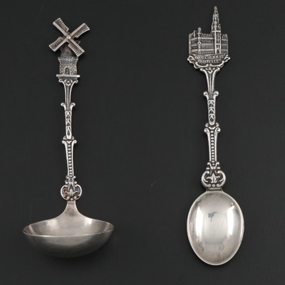 German 900 Silver Windmill Ladle and Metal Souvenir Spoon